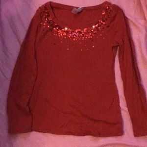 Sequin red long sleeve shirt